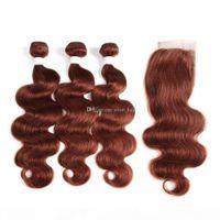 Двойная соткая волна тела коричневые цветные человеческие волосы уток волос с кружевным закрытием 3 пучка с закрытием 4x4 auburn каштановые волосы наращивание волос с закрытием