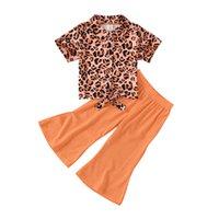 Été Vêtements pour enfants Little Girl Ensembles Petites Fille Pantalon évasé de Léopard + Design-revers Design Enfants Grossistes Costumes de haute qualité