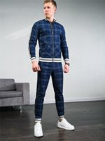 Men's Tracksuits 2021 Sell Like Cakes Track Suit Sportswear Lattice3D Printing Splicing Two-piece Run Fitness Clothes Men Autumn Casual