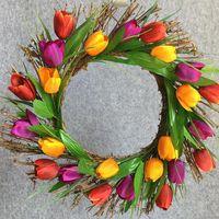 Decorative Flowers & Wreaths 40cm Artificial Tulip Garland Home Decoration Hanging Decorations Window Decor Festive Supplies