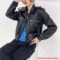Women Spring Autumn Black Faux Leather Jackets Zipper Basic Coat Turn-down Collar Motor Biker Jacket Motorcycle Women's &