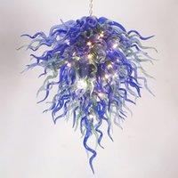 Lampes créatives de lustre en verre soufflé de la lumière blues de lumière et de couleurs vertes LED suspension lampe suspendue 24 sur 48 pouces Salon Landeliers Lights