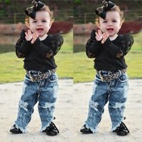 Clothing Sets 2PCS Toddler Kids Baby Girls Set Spliced Mesh Ribbed Tulle Sleeve T-Shirt Solid Tops+ Hole Denim Jeans Pants Outfits Casual