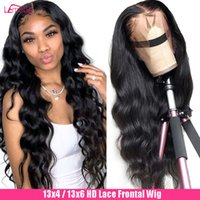 wigs Lace Front Human Hair Body Wave Hd Transparent Loose Deep Prussia 28 Inch Lemoda Remy Brazilian 13X6 Edge Frontal