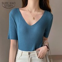 Short Sleeve Summer Shirt For Women 2021 V-Neck Plus Size White Tee Woman Shirts Knitted Casual Tops Blusas Fashion 13436 Women's T-Shirt
