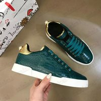 Herrengeprägte Krokodilmuster Niedrig Top Designer Flache Freizeitschuhe Sorrento Italien Luxurys Diamant Sneakers Trainer Kristall Herren Portofino Typografische Sneaker