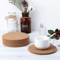 100pcs Lot Natural Coffee Cup Mat Round Wood Heat Resistant Cork Coaster Mat Tea Drink Pad Table Decor wholesale HWD10411