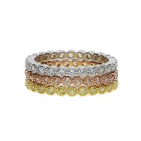 Cluster Rings Three Color Stack Stackable 925 Sterling Silver Wedding Bezel Cubic Zirconia Cz Eternity Band Engagement Ring Set
