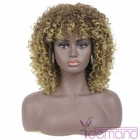 Synthetic Wigs Y Demand Ombre Short Kinky Curly Hair Afro Super Blonde Brown Bundles With Bangs For Black Women