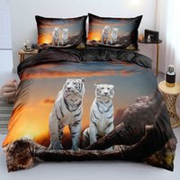 3D Black Quilt Cover Sets Design Animal Comforter Covers Pillow Covers King Queen Super King Twin Size 180*200cm Tiger Beddings H0913