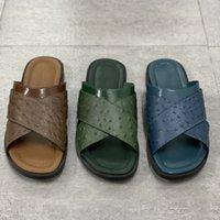 Hommes Designer Slide Slippers Foch Mutres Pantoufles Rich Ostrich Cuir Summer Mode Plage Chaussures Flip Floc avec boîte Grande taille 40-47 N ° 282
