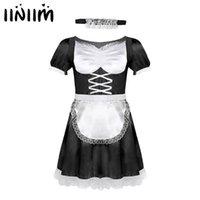 Iiniim Mens Sissyフレンチメイドユニフォームファンシードレスセクシーな面白い衣装クラブウェアパーティーサテンのドレスチョーカーとヘッドバンドL0407