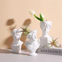 수지 조각 머리 꽃 냄비 북유럽 아트 식물 냄비 인형 홈 장식 Macetas Decorativas Flowerpot 정원 액세서리 새로운 L0409