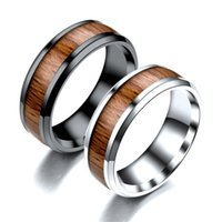Vintage Finger Rings Durable 316L Stainless Titanium Steel 8mm Ring Wood Grain Jewelry Gift