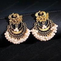 Paon classique Couleur Argent Indien Jhumka Dangle Boucle d'oreille Ooorbellen Vintage Vintage Perles Perles Boucles d'oreilles Tassel