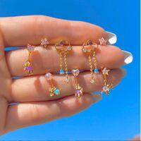 KIMTER Coloré Zircon Stud Dangle Boucles d'oreilles pour femmes Mini Crystal Crystal Stups Piercing Rhineston Clouts Collier Collier Bijoux A14Z