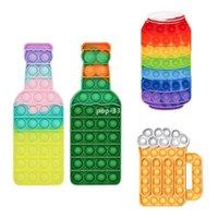 DHL lavável anti stress brinquedos de silicone arco-íris cervejas garrafa cerveja copo cola garrafas empurrar bolha mesa de quebra-cabeça jogo de férias presente