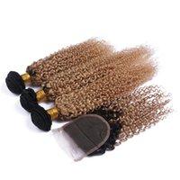 # 1b / 27 Miel Rubia Ombre Brasileño Virgen Kinky Curly Human Hair Weave Bundles con raíces oscuras Luz Marrón Ombre 4x4 Cierre de encaje Pffnx