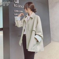 Women's Jackets Short Windbreaker Coat Middle Long Small Spring Autumn Clothes 2021 Korean Version With Loose Style High