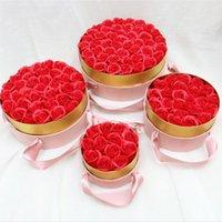 Gift Wrap Round Velvet Soap Rose Box Ribbon Handheld Flower With Never Fading Roses Wedding Favors Valentine's Day Mother's