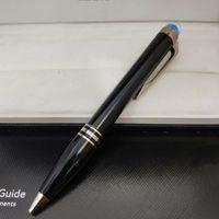 5A 럭셔리 펜 클래식 라운드 크리스탈 볼펜 블루 서명 펜 고귀한 선물 금속 단조 편안한 쓰기 원래 상자 포장
