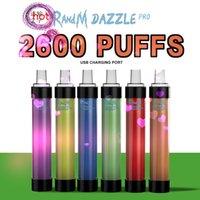 Randm Dazzle Pro 2600 퍼프 일회용 vape 펜 전자 담배 장치 키트 바 r 및 m LED 라이트 깜박이 12 색