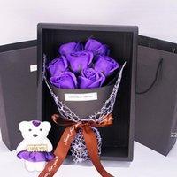 7 rose sapone fiore regalo confezione regalo piccolo bouquet San Valentino giorno evento regalo regali di Natale presente carino fiori decorativi HWA7176