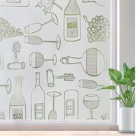 Window Stickers Self-Adhesive Frosted Stained Glass Sticker Kitchen Privacy Film Wine Bottle Anti UV Tint Static Cling Decals