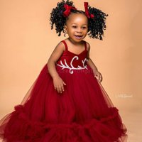 2021 Red Beaded Flower Girl Dresses Ball Gown Spaghetti Tulle Simple Lilttle Kids Birthday Pageant Weddding Gowns ZJ676