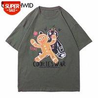 T-shirt تيز قميص الشارع الشهير الكرتون الكوكيز الحرب طباعة بلايز الهيب هوب عارضة القطن فضفاض القمصان المتناثرة قصيرة الأكمام قمم حزب # 5G8X