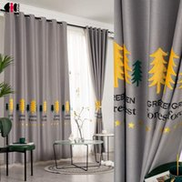 Forest Embroidered Curtains For Living Room Green Tree Darkening Pastoral Simple Kids Boys Nursery Bay Window Tende Curtain & Drapes