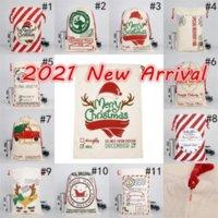 Auf Lager 2021 Weihnachten Santa Sacks Leinwand Baumwolltaschen Große Schwere Kordelzug Geschenkbeutel personalisierte Festival Party Weihnachtsdekoration