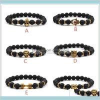 Natürliche schwarze Lava Rock Steinmode Frauen Männer Eule Hand Aromatherapie Ätherischer Öl Diffusor YQ69T Charm Armbänder 98Fic