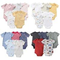 Clothing Sets Baby Bodysuit Set Born Boy Girl Clothes Short Sleeve Animal Print Bodysuits 2021 Summer Costume 5pcs set Body Suit