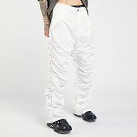 Hip Hop retro drapeado reto branco negro homens soltos plissados tamanho ocasional calças casuais folhas folgadas