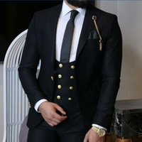 2021 Black Men's Wedding Tuxedos Custom Made Groom Wear For Slim Fit Business Dress Suits Prom Dinner Plus Size 3 Pics Set(Jacket+Vest+Pants) Gold Button Birthday Party