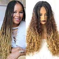 OMBRE Мед блондинки коричневый черный градиент цвета коробка вязание крючком оплетка волос кружева передний парик плетеные синтетические косы парики для женщин