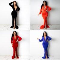 Kadın Derin V Boyun Uzun Kollu Mermaid Elbise Zarif Katı Ön Yüksek Bölünmüş Maxi Elbiseler Moda Vücut Şekillendirme Bodycon Vestido
