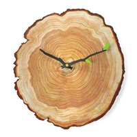 Wall Clocks 12 Inch Clock Vintage Wooden MDF UV Printing Mute Annual Ring Decoration Hanging For Bedroom Living Room
