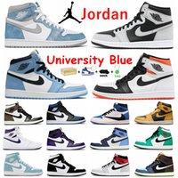 Universidad Azul Air Jordan 1 Retro 1S Jumpman Mens Shoes de baloncesto Zapatillas de deporte Hyphe Royal Pine Green Court Purple Obsidian unc Bred Toe Banned Sports Sports Shoe