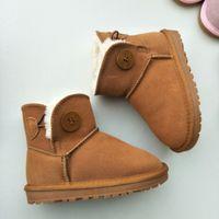 2021 وصول الخريف الشتاء جلد الاطفال بنات الفتيان الثلوج أحذية لينة خفيفة الوزن عدم الانزلاق التمهيد للأطفال حجم 21-35