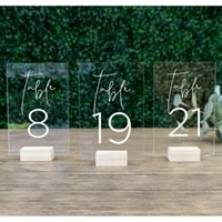 Party Decoration Wedding Table Numbers With Holders Acrylic Calligraphy SignageWood Number Wood Stand