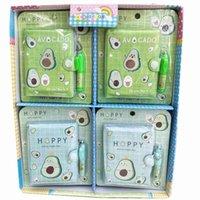 Bloco de notas 12 Pçs / lote Mini Abacate Notebook Conjunto com caneta esferográfica Bonito Bilhete de notas portátil Diário Planner Papelaria Presente Presente Suprimentos