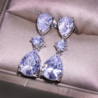2 karatieren weiß diamant silber 925 schmuck ohrring für frauen feine s925 sterling silber bizuteria aretes de mujer tropfen ohrringe 1278 q2
