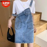 Dress Women's Retro Suspender Jean Skirt With Pocket Summer High Waist Ripped Strap Overalls Hole Denim Female Party #La9h
