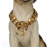15 milímetros de aço inoxidável Corrente de Cão Metal Treinamento Pet Colares Espessura Gold Silver Slip Cães Collar para Cães Grandes Pitbull Bulldog 1436 V2
