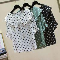 Blusas de las mujeres camisas de la gasa Mujeres de verano Puntos para las tapas de Wonan Blusa de lunares blanca coreana coreana blanca