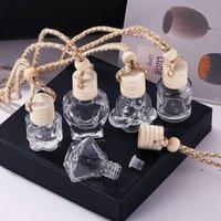 Car Perfume Bottle Glass Decoration Bags Pendant 8ml Perfume Ornament Air Freshener Essential Oils Fragrance Storage EWB7771