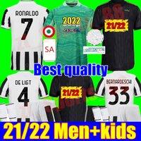 22 22 성인 남성 키트 청소년 유벤투스 축구 유니폼 2021 2022 Juve 골키퍼 GK Ronaldo Dybala Morata Chiesa McKenni 축구 키트 셔츠