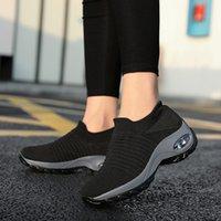 Height Increasing Women Shoes Sport Fashion Sneakers Sock Platform Gym Breathable Black Tennis Slip-On Ladies